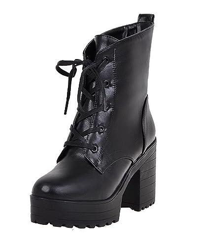 VogueZone009 Damen Hoher Absatz Rein Rund Zehe Weiches Material Stiefel mit Anhänger, Schwarz, 33