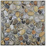 SomerTile Pebble Stone, Brown/Beige/Cream/White/Grey/Black FCG12PNI Porcenilo Pebblestone Porcelain Floor and Wall Tile, 12.125' x 12.125'