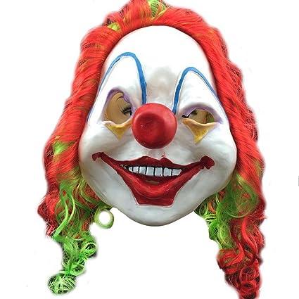 AOLVO Máscara de Cara Sonriente, máscara Fresca con Peluca de látex crepúsculo Colorido, no