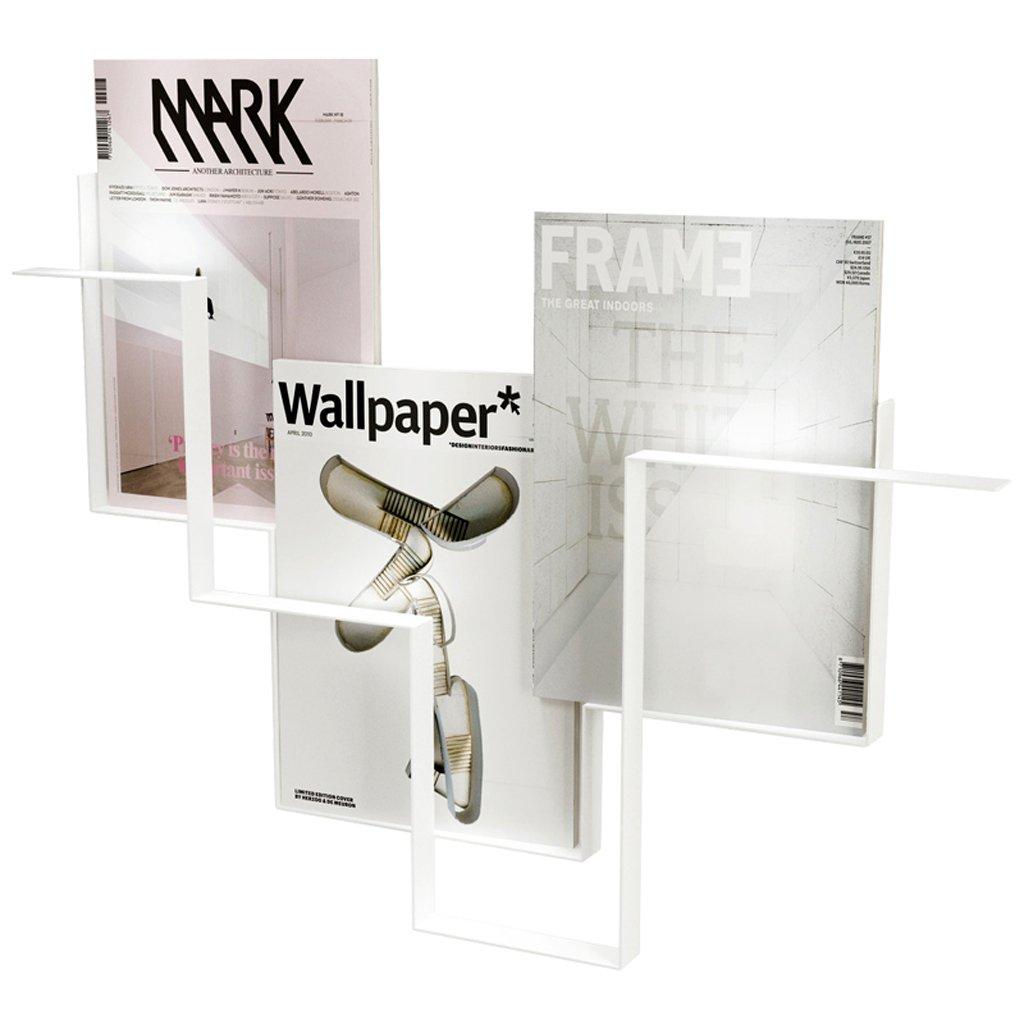 ウォールラック 鍛造マガジンラック|壁に取り付けられた新聞ラック|壁の棚 棚として使用することができます棚/スタンド スタイリッシュで寛大な (Color : 白) B07JJR5S7H 白