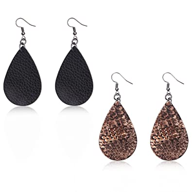 42019ec3304726 Teardrop Leather Earrings Soft and light Genuine Leather Teardrop Earrings  Leaf Drop Earrings Antique Looking Various