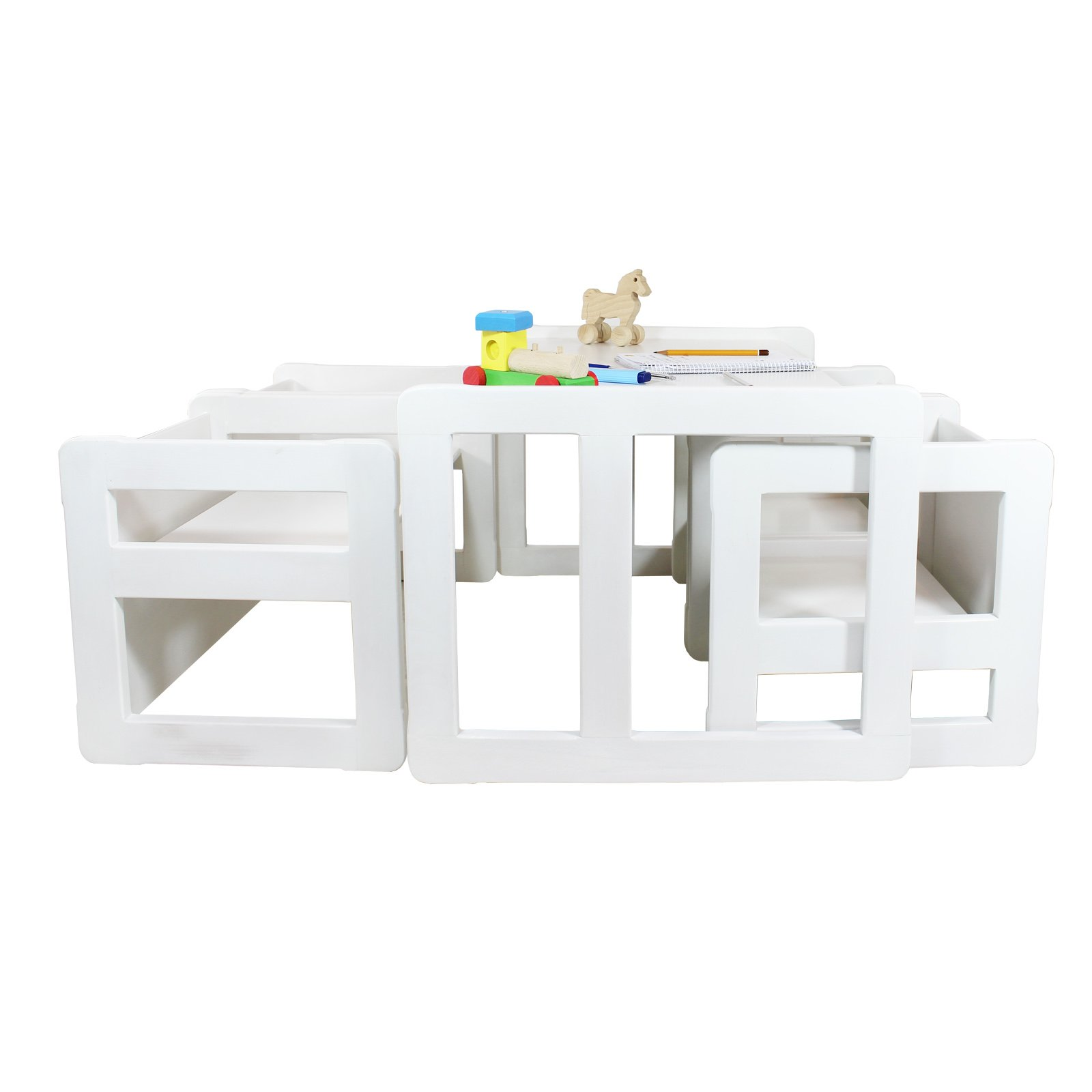 3 in 1 Childrens Multifunctional Furniture Set of 5, Four Small Chairs or Tables and One Large Bench or Table Beech Wood, White Stained