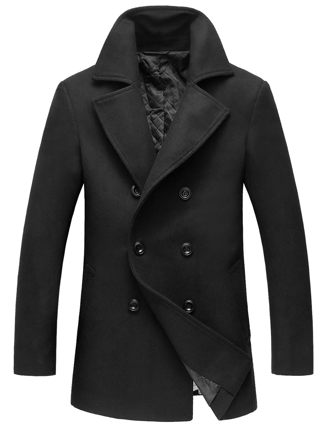 chouyatou Men's Classic Notched Collar Double Breasted Wool Blend Pea Coat (Large, Black) by chouyatou