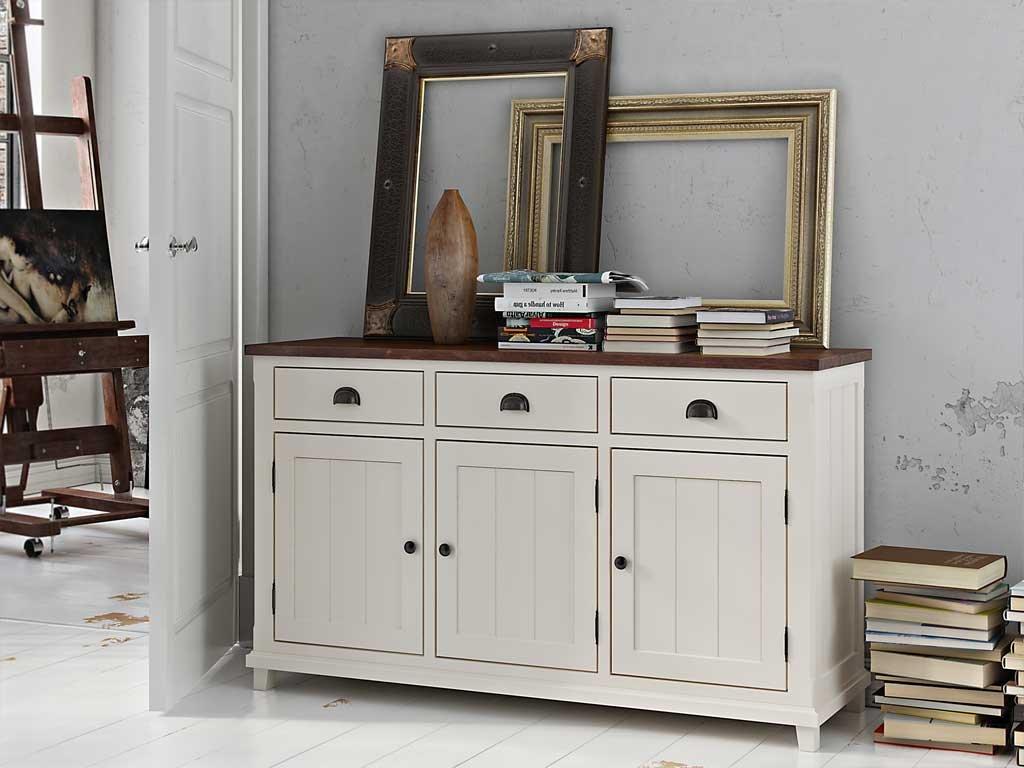 Kommode / Sideboard 02 massiv weiß / braun - Abmessung: 90 x 152 x 47 cm (H x B x T)