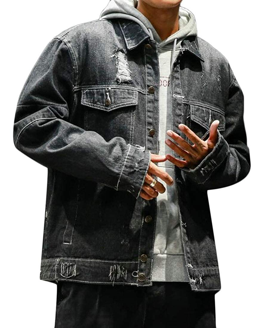 GAGA Mens Hooded Jacket Casual Jacket Button Down Distressed Ripped Jeans Coat