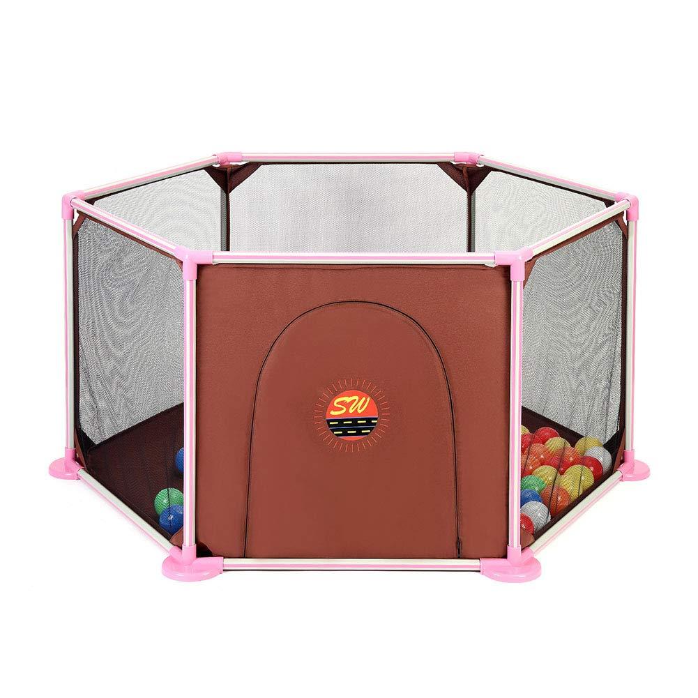 ベビーサークル ポータブルベビープレイペンキッズフェンス、子供用幼児用6パネル屋内安全衣装、身長66cm - ピンク   B07KQ7D2NM