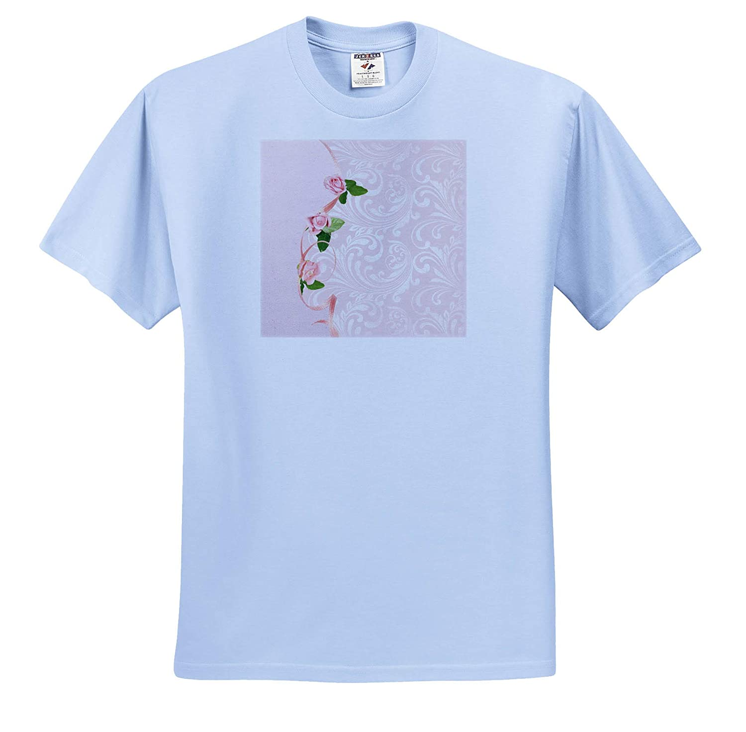 ts/_313362 Adult T-Shirt XL Image of Pink Roses on Ribbon on Elegant Design 3dRose Beverly Turner Flora Design