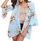 Women Long Lightweight Floral Cardigans Sweaters Open Front Regular (Blue,XL)