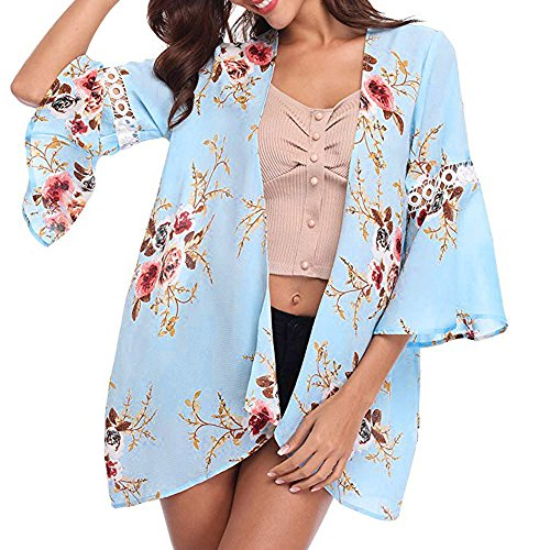 CUCUHAM Women Lace Floral Open Cape Casual Coat Blouse Kimono Jacket Cardigan(Z4-Blue,Small)