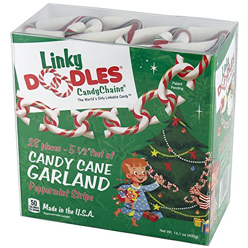 Linkydoodles, Christmas Candy Cane Tree Garland Decoration. Red, White & Green Peppermint, a Holiday Tradition. Also Great for Napkin Rings and Ornament Hangers. 28 Pcs of Links to Decorate Your Home for Parties, Santa Claus or Any Holiday Celebration.