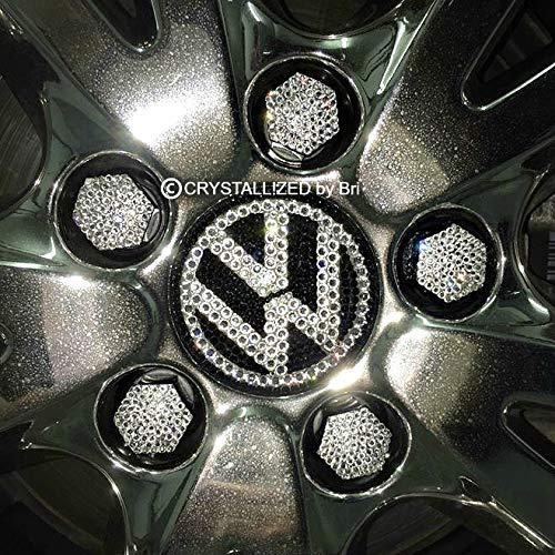 (17mm Swarovski CRYSTALLIZED Car Lug Nut Caps Wheel Covers Hexagonal Bling Crystals Set of 16 or 20)