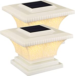 TORCHSTAR Solar Post Cap Lights Outdoor, IP65 Waterproof Square Fence Light, Soft White Lamp, 360° Beam Angle, Fits 4x4, 5x5, 6x6 Posts, for Deck, Garden or Patio, Creamy White Finish, Pack of 2