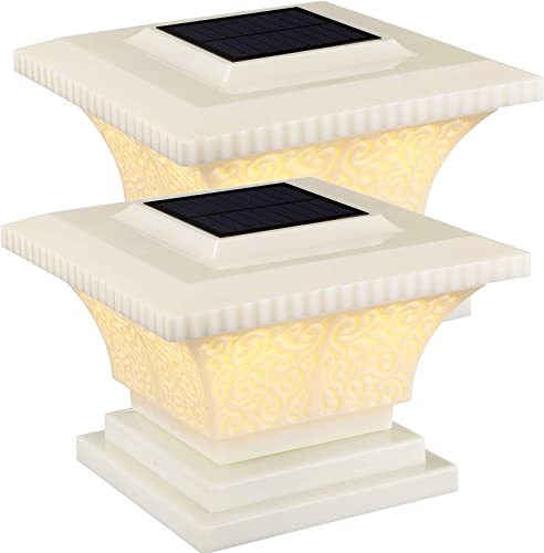 TORCHSTAR Solar Post Cap Lights Outdoor, IP65 Waterproof Square Fence Light, Soft White Lamp, 360 Beam Angle, Fits 4×4, 5×5, 6×6 Posts, for Deck, Garden or Patio, Creamy White Finish, Pack of 2