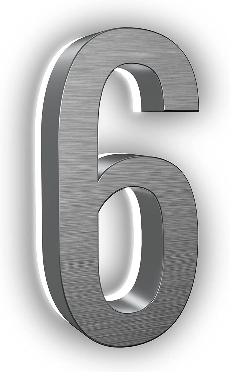 LN LUMANUMBERS 5 Inches Steel Backlit LED Floating Address Number, Up-Scale Modern Look, Lighted House Numbers, 6, Brushed Nickel, Illuminated Address Numbers