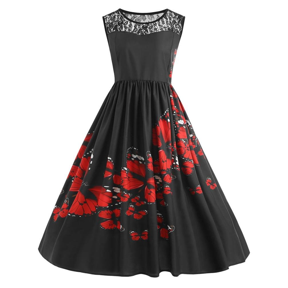 Women Dress Daoroka Ladies Sexy Lace Vintage Plus Size Butterfly Print Sleeveless Evening Party Prom A Line Pleated Swing Skirt Fashion Casual Spring Summer Elegant Sundress (4XL, Black)