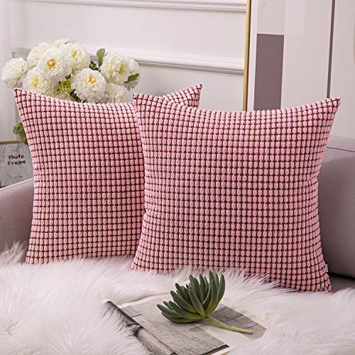 Ashler Set of 2 Soft Baby Pink Corduroy Corn Stripped Both Sides Throw Pillow Cushion Cover 20 x 20 inch 50 x 50 cm (Decos Home)