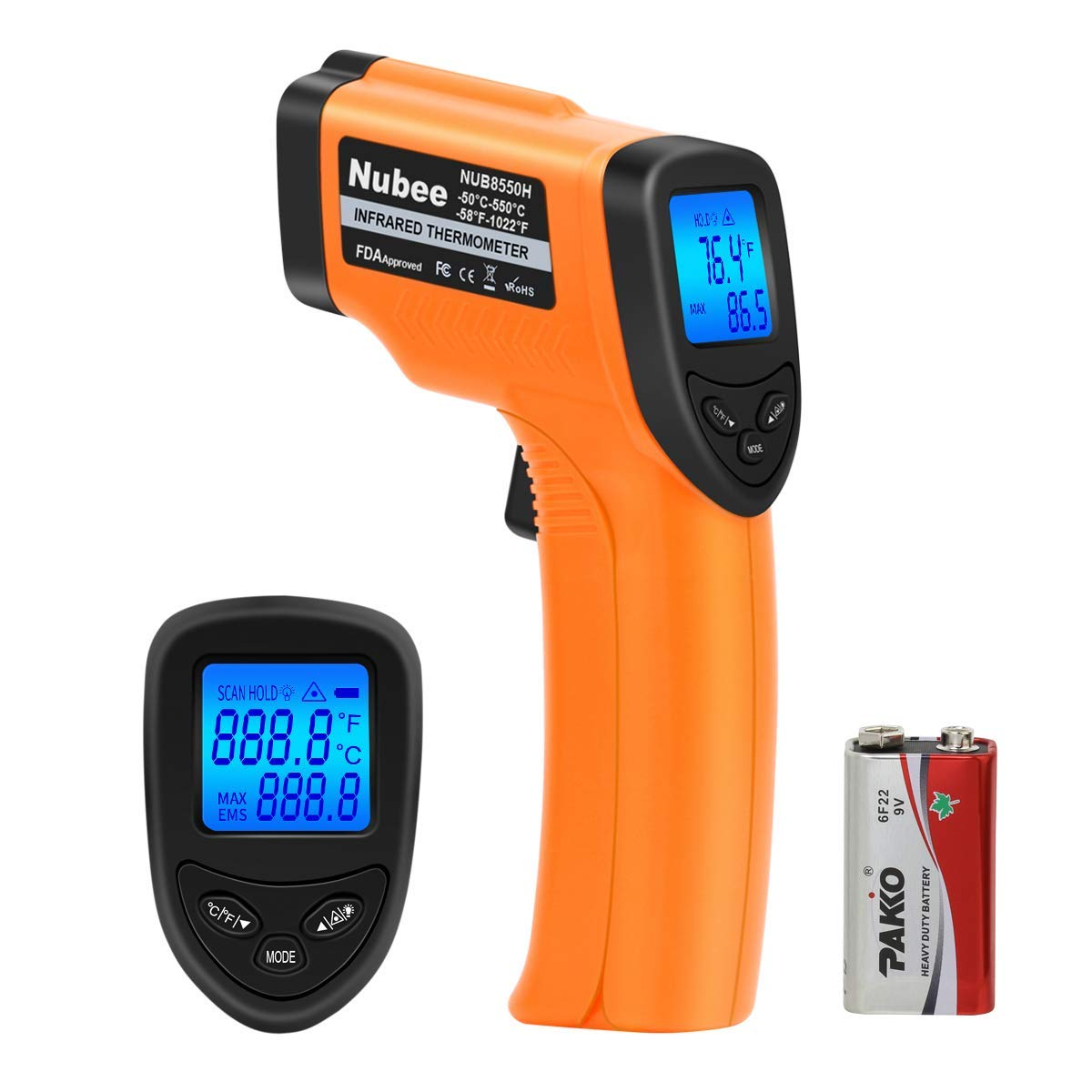 Nubee NUB8550H Digital Infrared Thermometer -58°F~ 1022°F (-50°C ~ 550°C) with Adjustable Emissivity & Max Display Non-Contact Temperature Gun with Laser Thermometer for Cooking Meat Kitchen Refrigerator Pool Oven, Orange and Black by Nubee