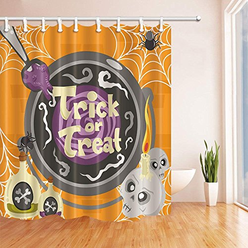 Yomyceo 3D Digital Printing Halloween Shower Curtain, Pumpkin Expressio, Mildew Resistant Polyester Fabric Bathroom Decorations, Bath Curtains Hooks Included, 72X72 inches (Multi24) by Yomyceo