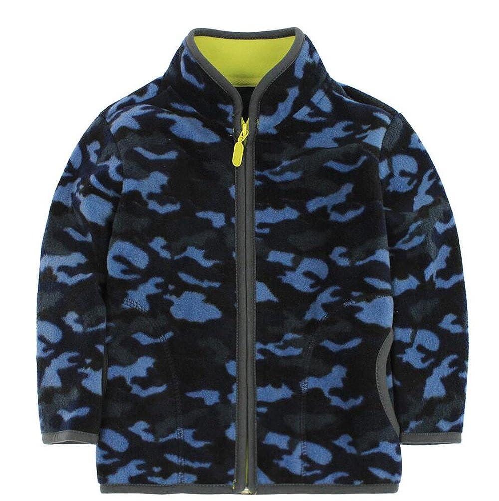HUAER& Little Boy Camouflage Fleece Zipper Jackets