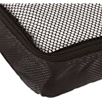 AmazonBasics 4 Piece Packing Travel Organizer Cubes Set - Slim 10 Double zipper pulls make opening/closing simple and fast Mesh top panel for easy identification of contents, and ventilation Soft mesh won't damage delicate fabrics