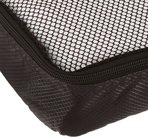 AmazonBasics 4 Piece Packing Travel Organizer Cubes Set - Slim 5 Double zipper pulls make opening/closing simple and fast Mesh top panel for easy identification of contents, and ventilation Soft mesh won't damage delicate fabrics