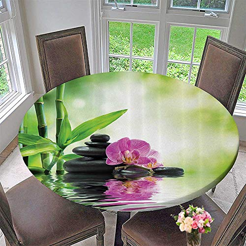 Mikihome Round Table Tablecloth Orchids and Rocks in The Mineral Rich Spring Water Spiritual Deep Treatment Cure 43.5