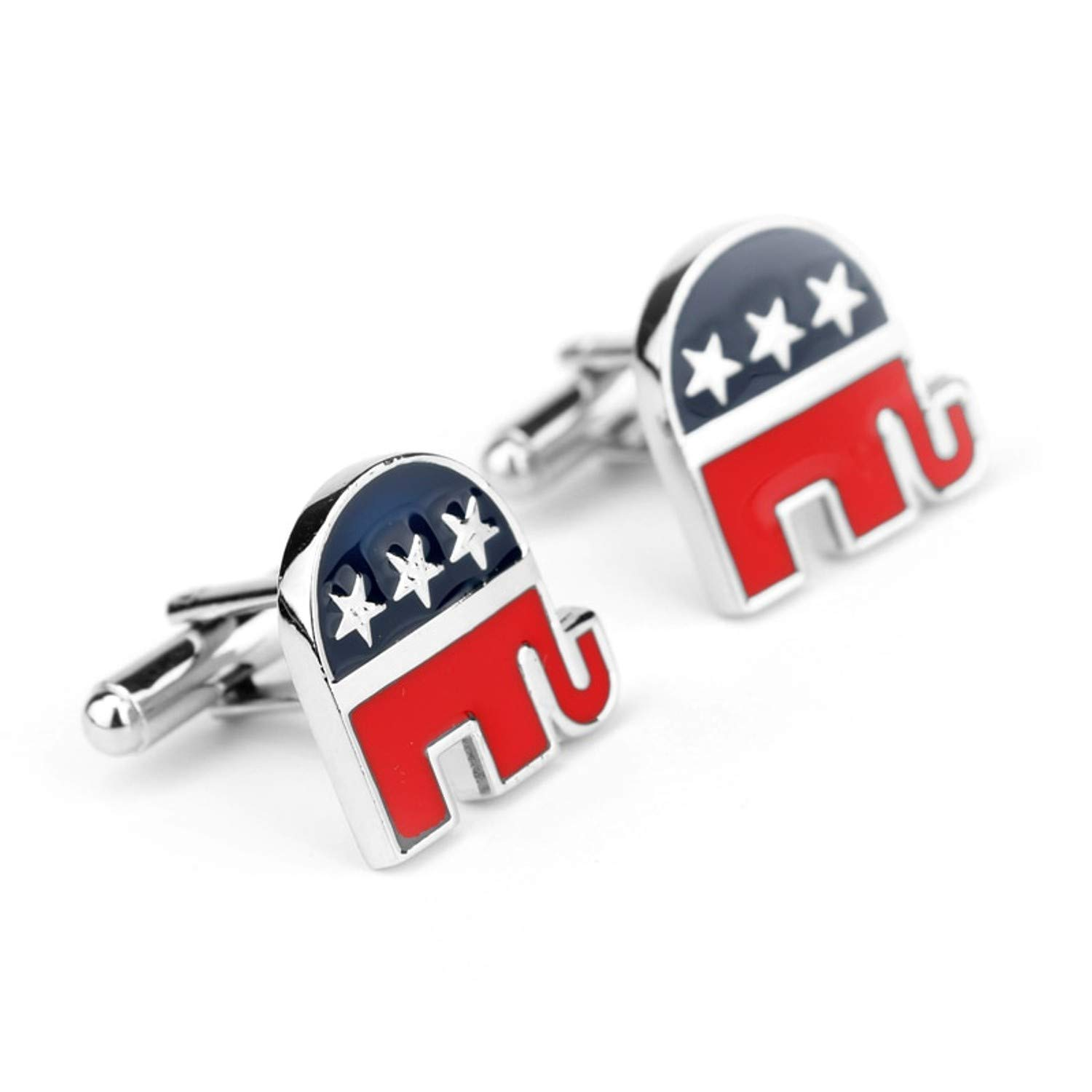 Geek and Glitter Patriotic Cufflink Set - US Republican - America United States Government Gift for Suits (Republican Elephant)