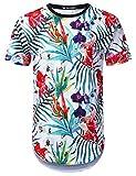 URBANTOPS Mens Hipster Hip Hop Azalea Floral Longline T-Shirt White, XL