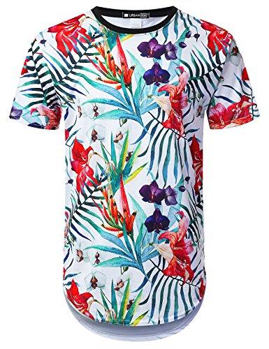 URBANTOPS Mens Hipster Hip Hop Azalea Floral Longline T-Shirt White, XL by URBANTOPS