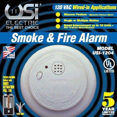 Universal Security Instruments 1204 Wire-In Smoke Alarm with Battery Backup (4 Pack) by Universal Security Instruments