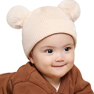 Jarsh Childrens Baby Autumn Winter Warm Hat Earflaps Move Thicken Knit Cartoon Cap