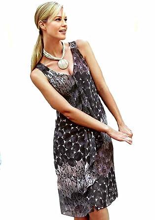 dfbaa8e383c9 Vivance Collection Women s Dress Chiffon   Grey - Grey - 14  Amazon.co.uk   Clothing