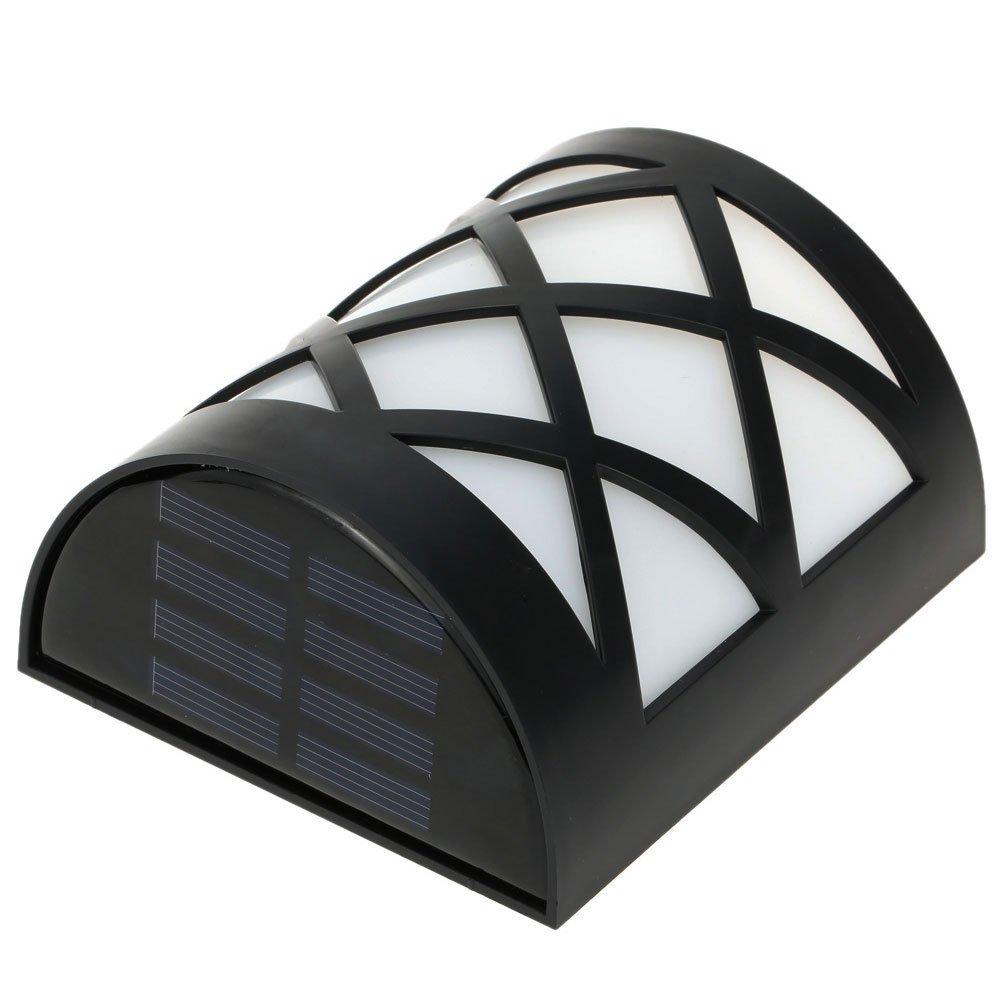 elecfan Solar Wall Mount Light Spotlight, Outdoor Waterproof LED Decorative Lamp Sensor Light Decor in Window Grids Landscape Garden Fence Yard - White