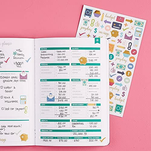Erin Condren Designer Petite Planner Financial Planner Bud Planner Organizer Book with Debt Tracking Spending Tracking Functional Stickers &