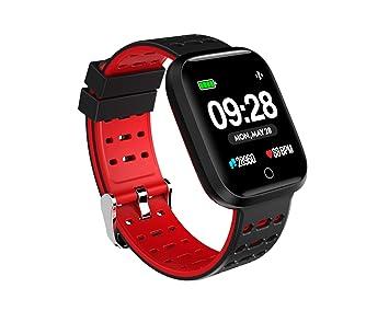 Doki Reloj Inteligente De 1,2 Pulgadas Presión Arterial Frecuencia Cardíaca Smartwatch Fitness Monitor para Teléfonos Android iOS (Rojo)