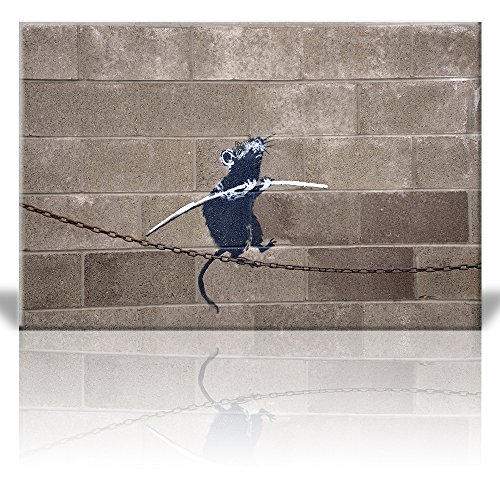wall26 - Canvas Print Wall Art - Rat Balancing on Tight Rope Chain - Banksy Street Artwork on Canvas Stretched Gallery Wrap. Ready to Hang - 16x24 (Artwork Pack Rat)