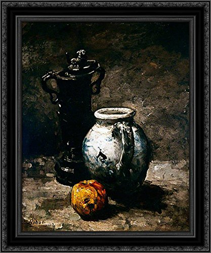 Still Life with Jug 1885 20x24 Black Ornate Wood Framed Canvas Art by Ribot, Theodule