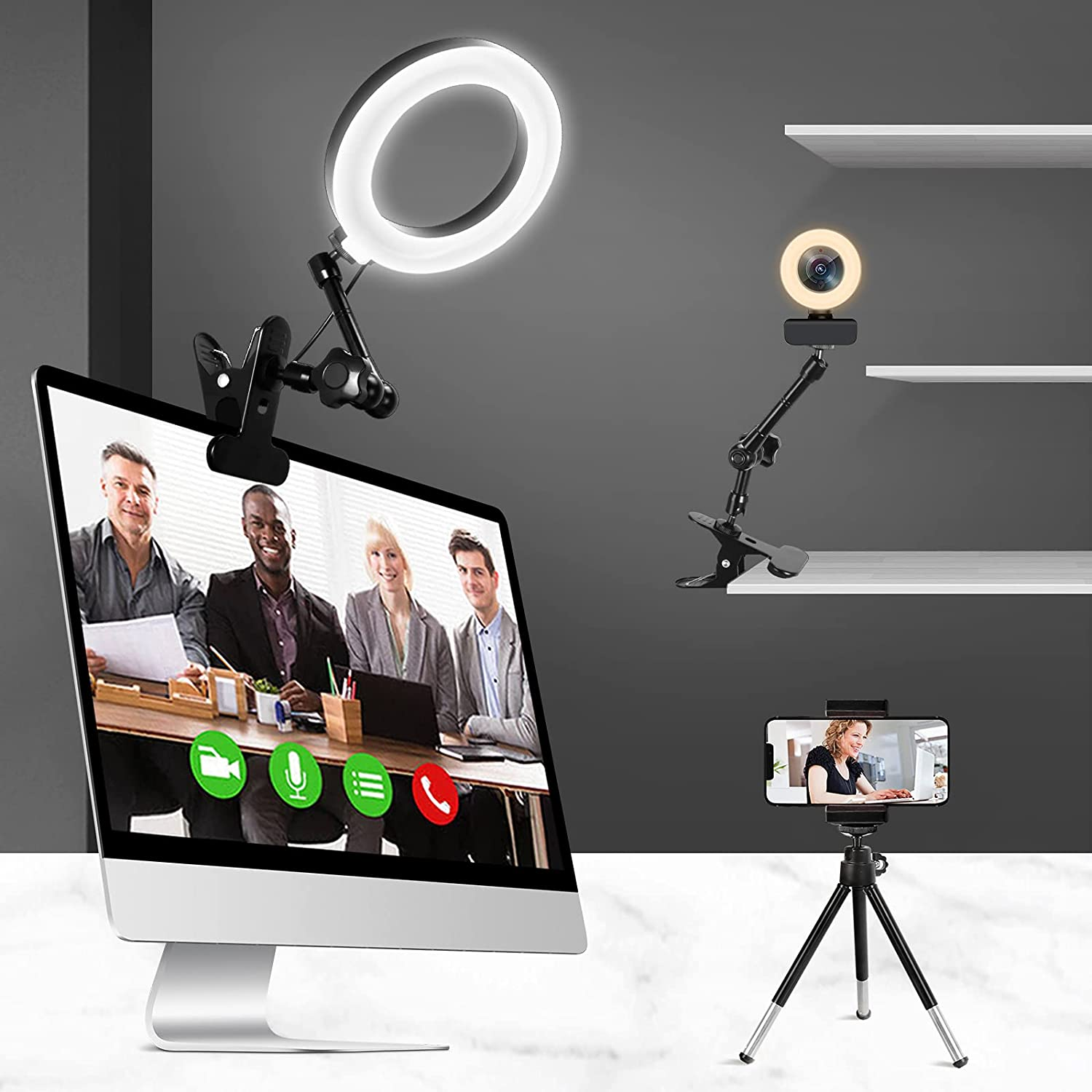 Lusweimi Ring Light for Computer Laptop Video Conference Lighting Kit with Clip&Overhead Tripod, 6