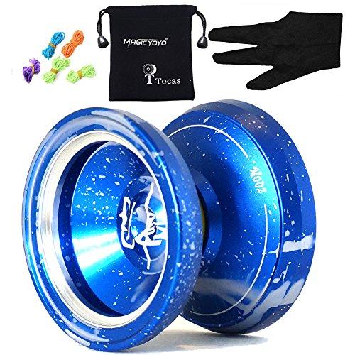 MAGICYOYO M002 Unresponsive Yoyos Pro Yo-yos Metal Yo Yo Set Gift Toy, Blue Silver