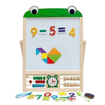 Caballete Infantil Pizarra magnética Infantil 2 en 1 Tablero de Dibujo Plegable Doble Cara para niños con tizas, números, Esponja, Imanes, Marcador y ...