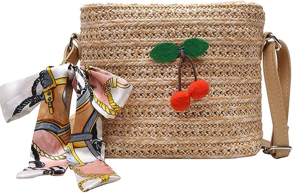 Winwintom Bolsa de Playa Paja Mujer Pequeña Cereza Bolsa, 2020 Verano Elegante Casual Versátil Portátil Bolsos Bandolera/Bolso de Mano/Bolso Totes para Viaje Y Uso Diario