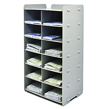 Bricolaje de madera Escritorio Archivador Caja de almacenamiento de papel de tamaño A4 Manager 7 Capas Archivo Carpeta Revista titular titular,gris: ...