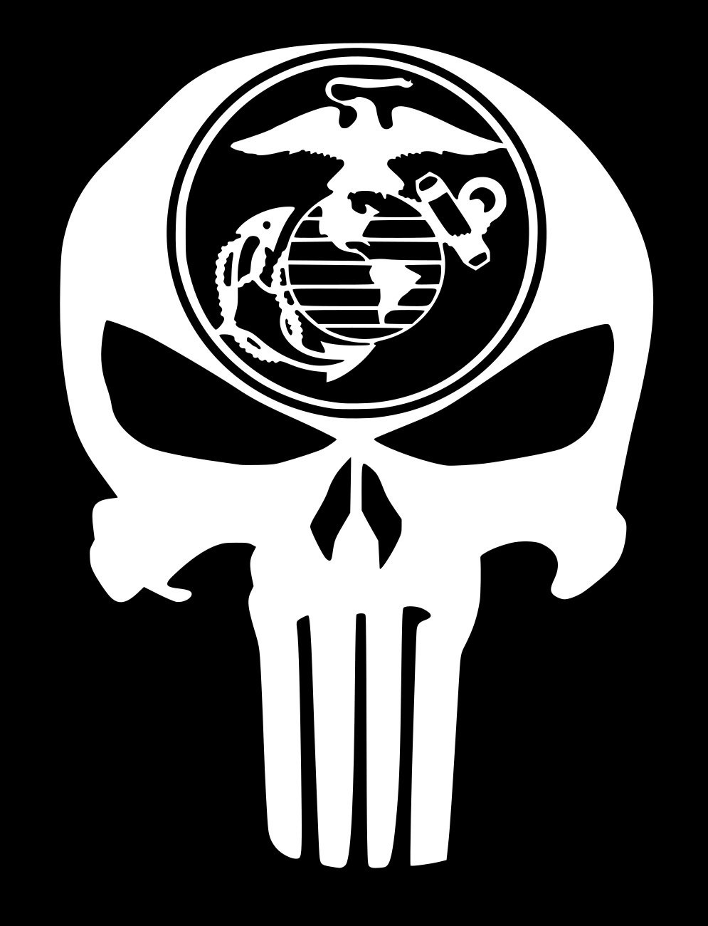 Ur impressions marine eagle globe anchor punisher skull decal vinyl sticker graphics for car truck suv van wall window laptopwhite5 5 x 4 3 inchuri330