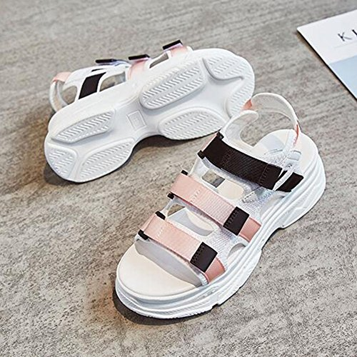 Sandals CJC Women Open Toe Peep Toe Ankle Strap Wedge Heels 5.5cm (Color : 3, Size : EU38/UK5.5/CN38) 1