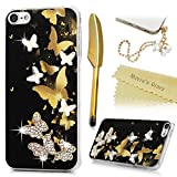 Mavis's Diary iPod Touch 6 Case 3D Handmade Bling Crystal Golden Butterfies in Black Pattern Shiny Diamonds Glitter Gems Clear Frame Hard PC Cover for iPod Touch 6th Generation & Dust Plug & Stylus