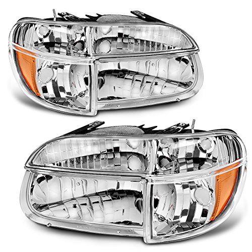 (Headlight Assembly for 1995-2001 Ford Explorer | Mountaineer OE Style Replacement Headlamps Chrome Housing with Amber Reflector Clear Lens + Corner Lights (Passenger & Driver)