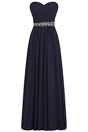 6021caba9b5 Bbonlinedress Long Sweetheart Chiffon Homecoming Bridesmaid Dresses Prom  Gowns Dark Navy 4