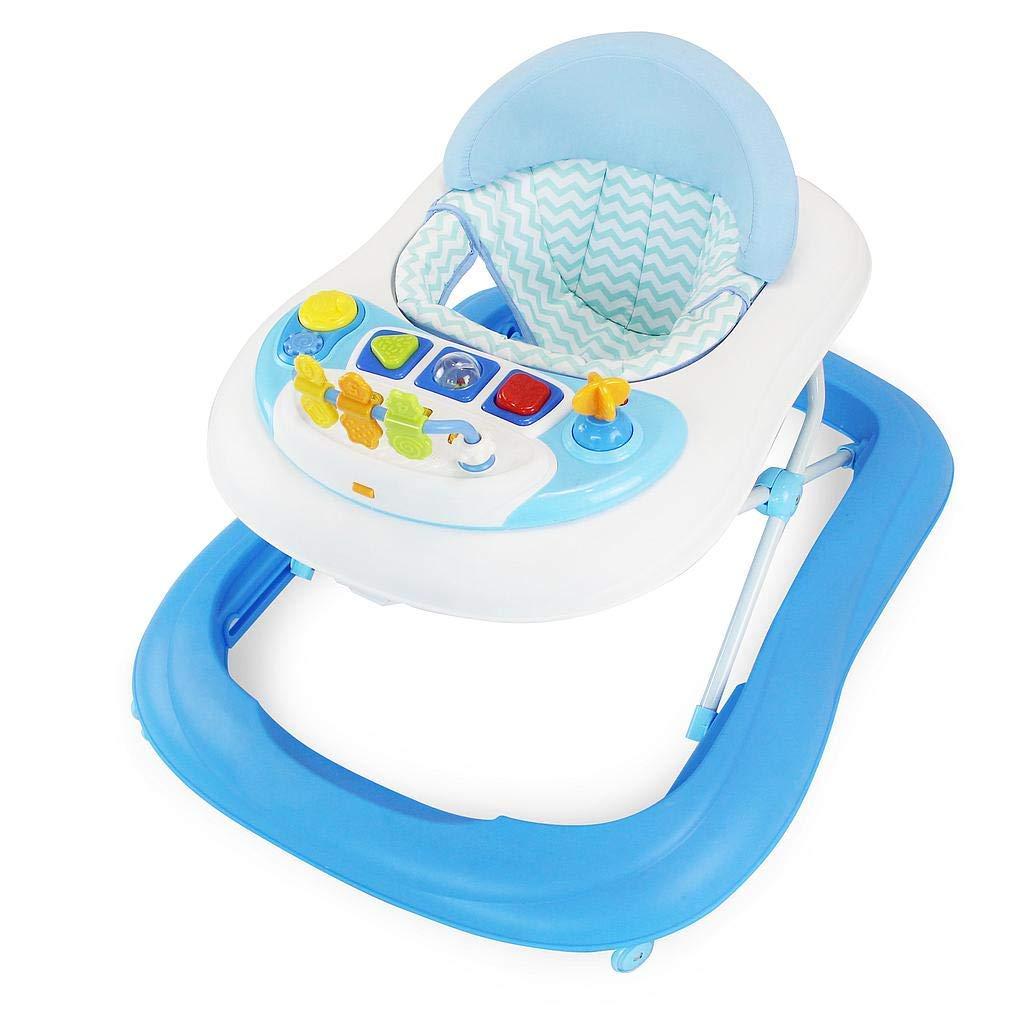 Babywalker mit Melodie und Licht Gehfrei baby klappbar und tragbar Sotech Baby Lauflernhilfe mit 4 multidirektionalen R/ädern Blau weich gepolsterter Sitz und R/ückenlehne
