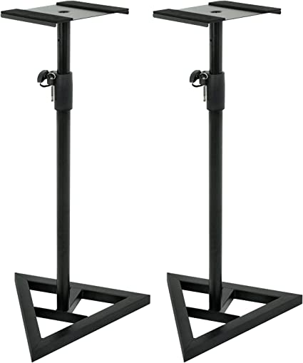 Amazon Com Zeny Pair Of Studio Monitor Speaker Stands Height Adjustable Concert Band Dj Studio Floor Stands W Stable Triangle Base Black Musical Instruments