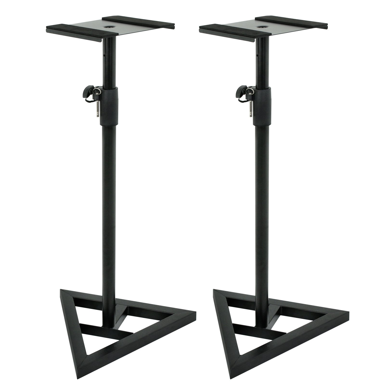 ZENY Pair of Studio Monitor Speaker Stands Height Adjustable Concert Band DJ Studio Floor Stands w/Stable Triangle Base, Black